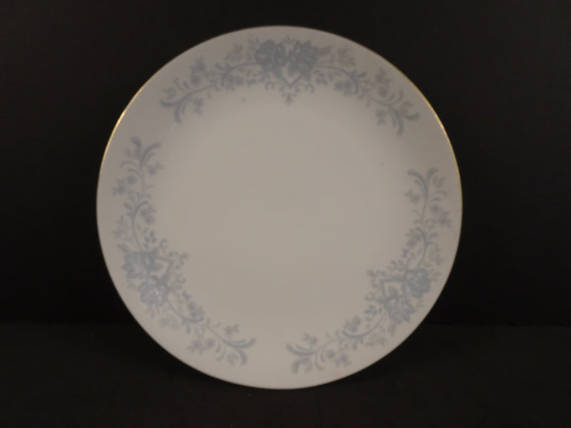 Large Light Blue 3-section Floral Pattern with Solid White Center & Gold Trim, 7.35in Coupe Soup Bowl