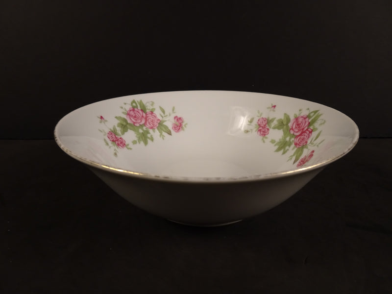 Three Bouquets of Pink Flowers with Gold Trim on White 7in Coupe Soup Bowl