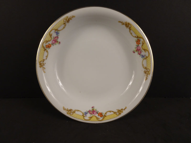 Czechoslovak White Soup Bowl with Rose Swags on Cream Band 7.9in