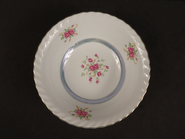 Red Rose Pattern with Pattern in Center and Inner Blue Ring, 7.25in Coupe Cereal Bowl