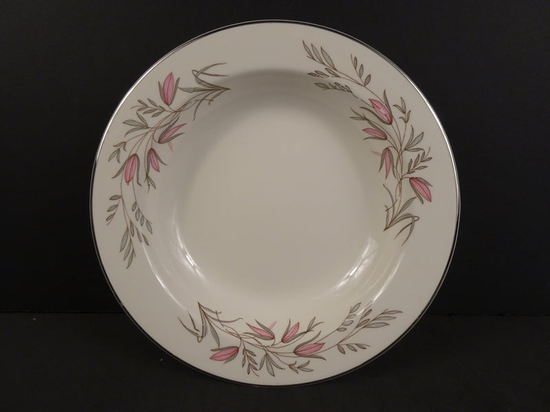 Cream White Soup Bowl with Pink Flower and Green Leaf Pattern Surrounded By Silver Trim - 7in Rimmed Soup Bowl