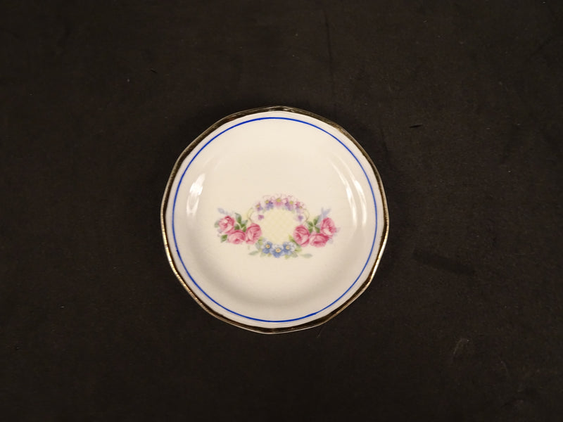 Flower Garland with Blue Ring and Gold Trim, 3.25in Coaster