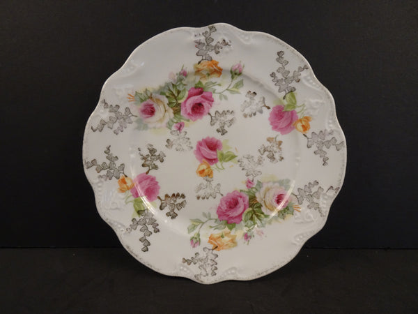 Pink Floral Pattern with Gold Detailing and Speckled Silver Trim 6.25in Coupe Bread and Butter Plate