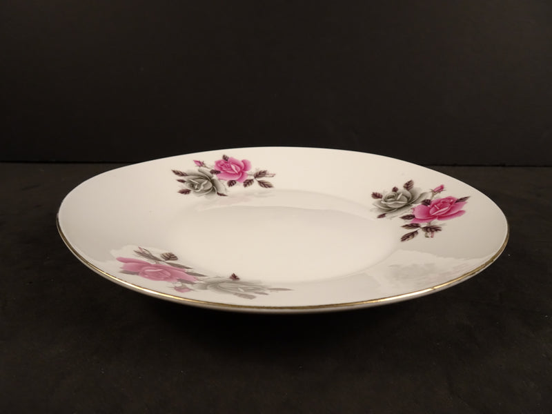 Grey and Pink Rose Patterns with Gold Trim on 7in Coupe Salad Plate