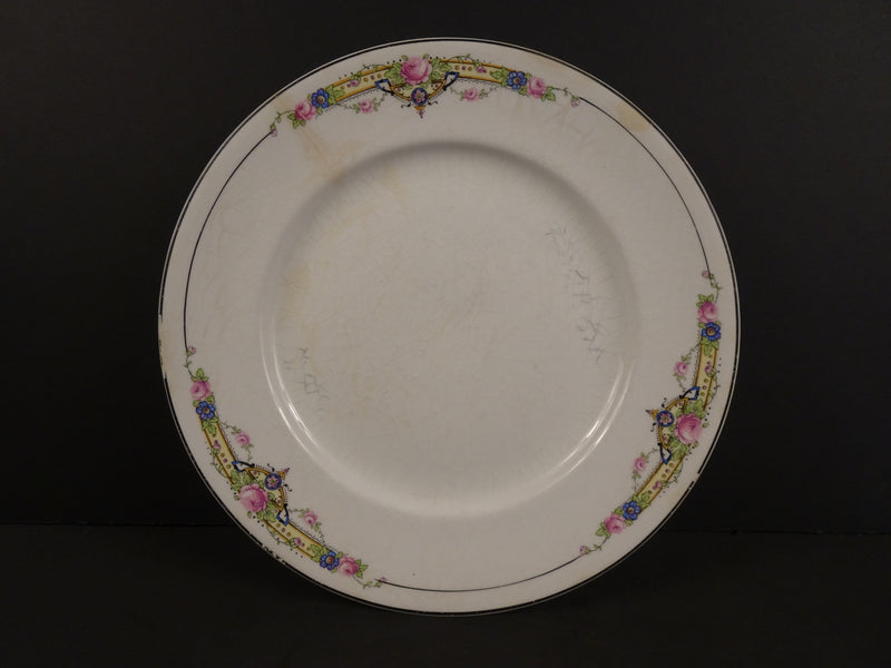 Crooksville China Co  9in Rimmed Luncheon Plate