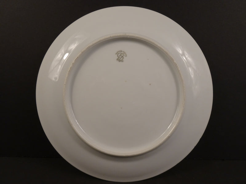 Czechoslovak White Rimmed Luncheon Plate with Rose Swags on Cream Band 9.12in