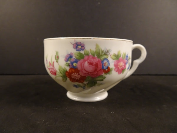 Pink Floral Design with Gold Trim on White 3.5in Tea Cup