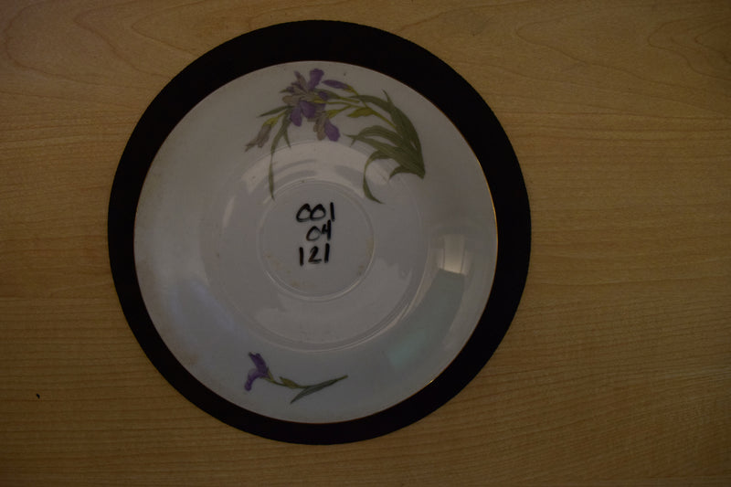 Purple Flowers and Green Leaves with Gold Trim on 6.25in White Coupe Saucer