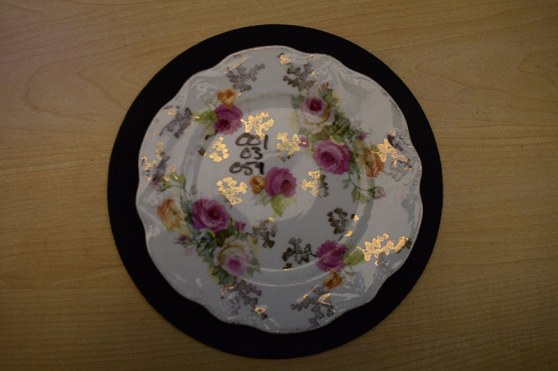Pink and Gold Floral Pattern, 6.25in Rimmed Bread and Butter Plate