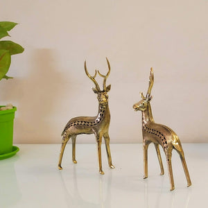 dhokra art brass deer statue