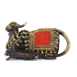 dhokra art cow statue with calf