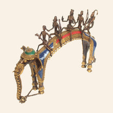 Load image into Gallery viewer, Tribal Brass Metal Art Depicting the Ayodhya Procession handcrafted in Bastar Art, Dhokra Art side view.