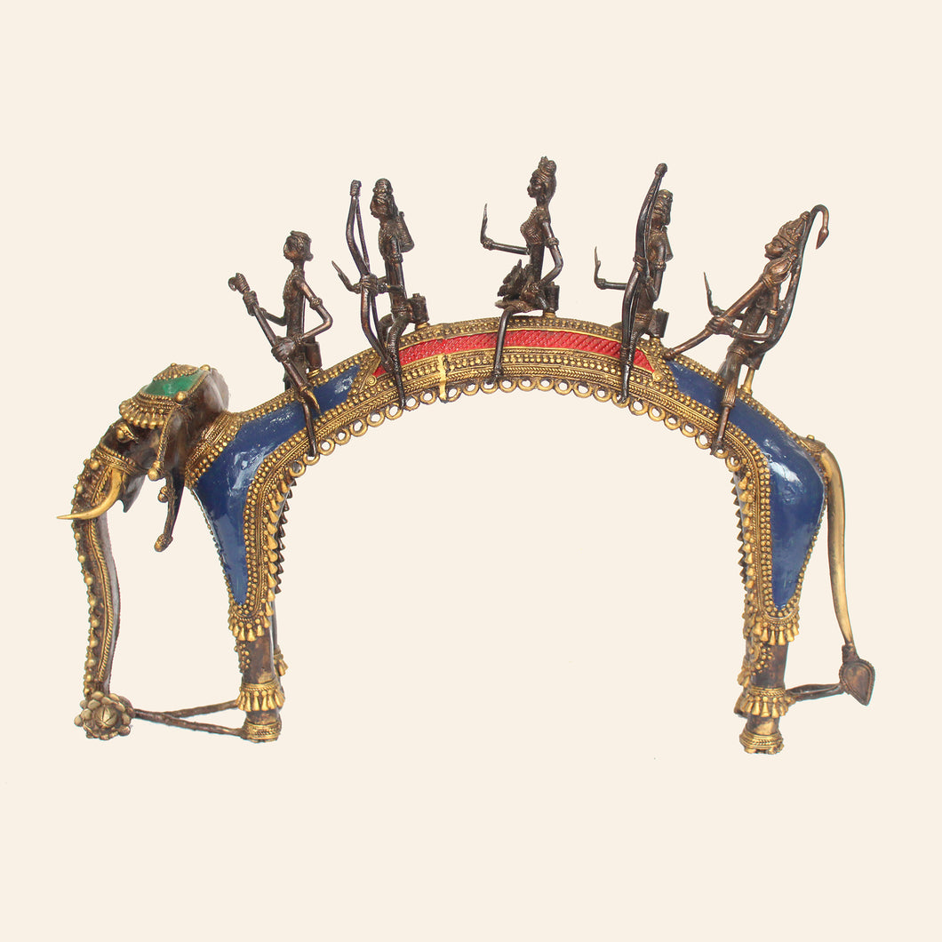 Tribal Brass Metal Art Depicting the Ayodhya Procession handcrafted in Bastar Art, Dhokra Art
