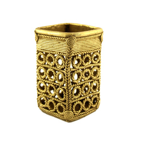 Square Pen holder made in brass metal in Bastar | Dhokra art, brass color, front view