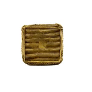 Square Pen holder made in brass metal in Bastar | Dhokra art, brass color, bottom view