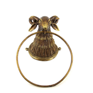 Perfectly Antiquated Bell Metal Holder for Towels, golden bronze color, front view