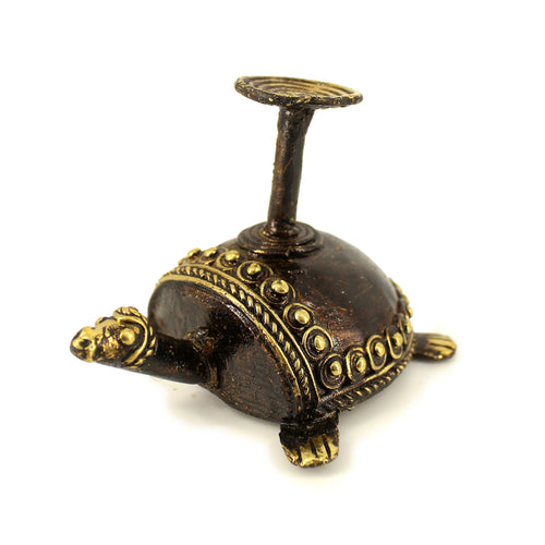 Bell Metal Turtle Candle Holder made in Brass metal in Bastar Art, Dhokra Art, side view, color - golden brown
