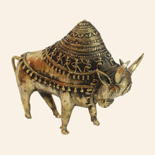 Load image into Gallery viewer, Ornate Bull Figurine with Raised Hump