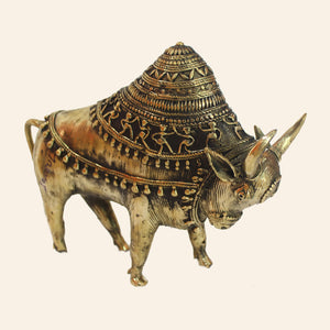 Ornate Bull Figurine with Raised Hump