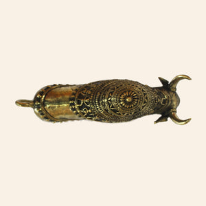 Nandi Bull Antique Statue handmade using Brass Metal in Bastar Art, Dhokra Art. top view.