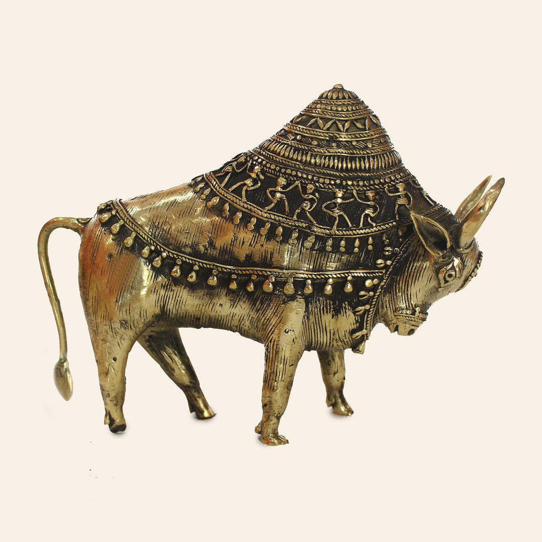 Nandi Bull Antique Statue handmade using Brass Metal in Bastar Art, Dhokra Art. Side view.