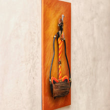 Load image into Gallery viewer, Colorful wrought iron design with MDF frame, Bastar Art, Dhokra Art, side view