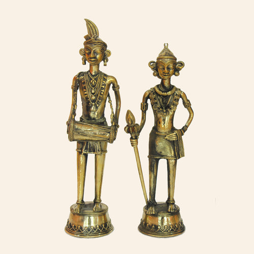 Decorative Statue of Indian Tribal Couple with Musical Instrument