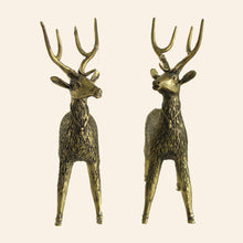 Load image into Gallery viewer, Brass Metal Deer statue handmade in Bastar Art, Dhokra Art. front view.