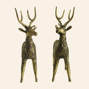 Brass Metal Deer statue handmade in Bastar Art, Dhokra Art. front view.