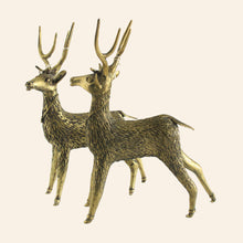 Load image into Gallery viewer, Brass Metal Deer statue handmade in Bastar Art, Dhokra Art.