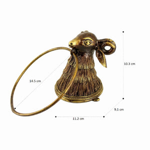 Perfectly Antiquated Bell Metal Holder for Towels, golden bronze color, side view with dimension marrking