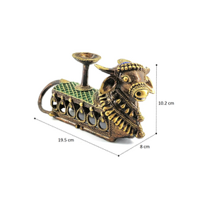 Nandi Candle or Tealight Holder, made in brass metal in Dhokra Art, Bastar Art, Multicolor, Side View with dimensions