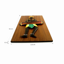 Load image into Gallery viewer, Tribal Man Playing Dholak, made in Wrought Iron and MDF, Bastar Art, color- multicolor, image with dimensioned