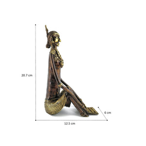 Brass Metal Ornamented Tribal Woman Sculpture, Bastar Art, Dhokra Art, side view with dimensions