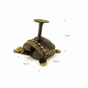Bell Metal Turtle Candle Holder made in Brass metal in Bastar Art, Dhokra Art, side view with dimensions, color - golden brown