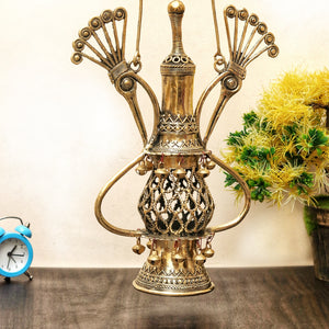 Brass Metal Lantern Shaped Lamp Holder made in dhokra art, bastar art, brass color, front view 2