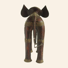 Load image into Gallery viewer, brass metal elephant in wine and gold color. handcrafted in bastar art. back view.
