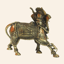 Load image into Gallery viewer, Nandi Bull with Elephant head handcrafted using brass metal in Bastar Art, Dhokra Art. Mythological figure. side view.