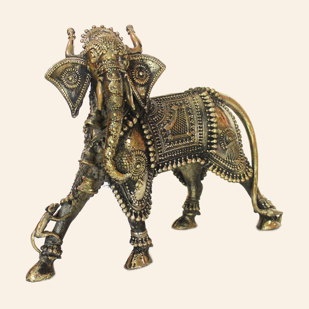 Nandi Bull with Elephant head handcrafted using brass metal in Bastar Art, Dhokra Art. Mythological figure.