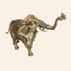 Brass Metal Antique Elephant Statue. Handcrafted in Bastar Art, Dhokra Art. top view.