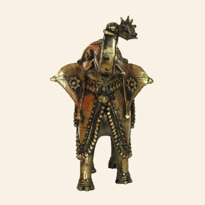 Brass Metal Antique Elephant Statue. Handcrafted in Bastar Art, Dhokra Art. front view