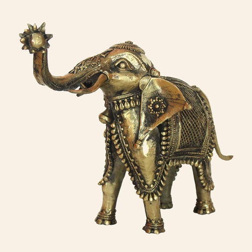 Brass Metal Antique Elephant Statue. Handcrafted in Bastar Art, Dhokra Art.