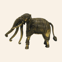 Load image into Gallery viewer, Bastar Art brass metal elephant with three trunks. side view.