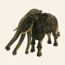 Load image into Gallery viewer, Bastar Art brass metal elephant with three trunks.