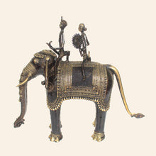 Load image into Gallery viewer, bastar art elephant with two riders, brass metal handicraft. side view.