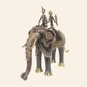 bastar art elephant with two riders, brass metal handicraft.