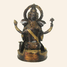 Load image into Gallery viewer, Brass metal Ganesha idol handcrafted in Bastar Art, Dhokra Art. back view.