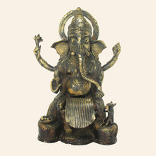 Load image into Gallery viewer, Brass metal Ganesha idol handcrafted in Bastar Art, Dhokra Art.