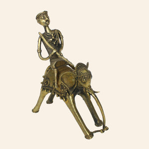 Bastar Art elephant with a rider. brass metal.
