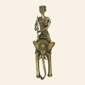 Bastar Art elephant with a rider. brass metal. front view